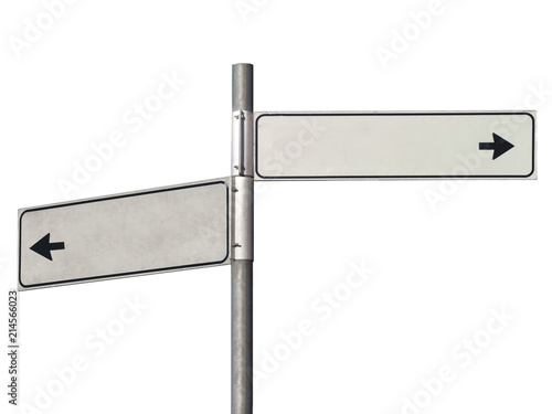 Black and white road sign pointing in two direction, isolated on white.