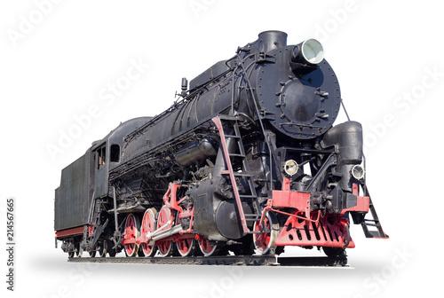 Obraz pociąg  stare-lokomotywy-parowe-na-bialym-tle