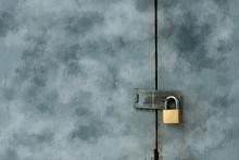 Old Keys On Painted Wooden Doors.