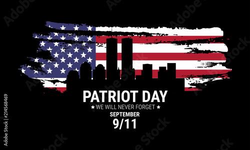 Obraz Vector patriot day illustration. We will newer forget 9\11/ Vector patriotic illustration with american flag - fototapety do salonu