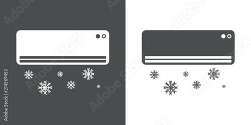 Photo Icono plano aire acondicionado con simbolo frio en gris y blanco
