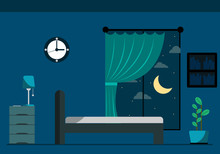 Room With A Window At Night. Vector Illustration