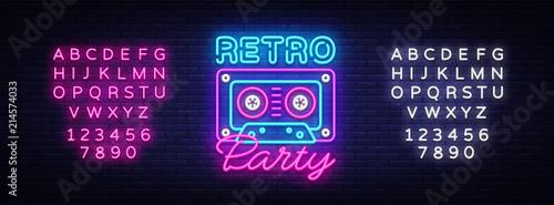 Photo Retro Party neon poster, card or invitation, design template