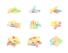 Jelly Worm Candy Isolated