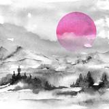 Malarstwo akwarelowe. Natura, góry, wieś, czarna sylwetka gór. Czerwone, różowe słońce, zachód słońca, świt, las, sosny, świerk. Pocztówka, obraz, plakat, logo. Grafika, rysunek w stylu vintage. - 214575882
