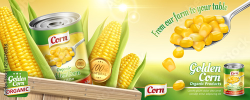 Fotografie, Obraz Organic canned corn ads