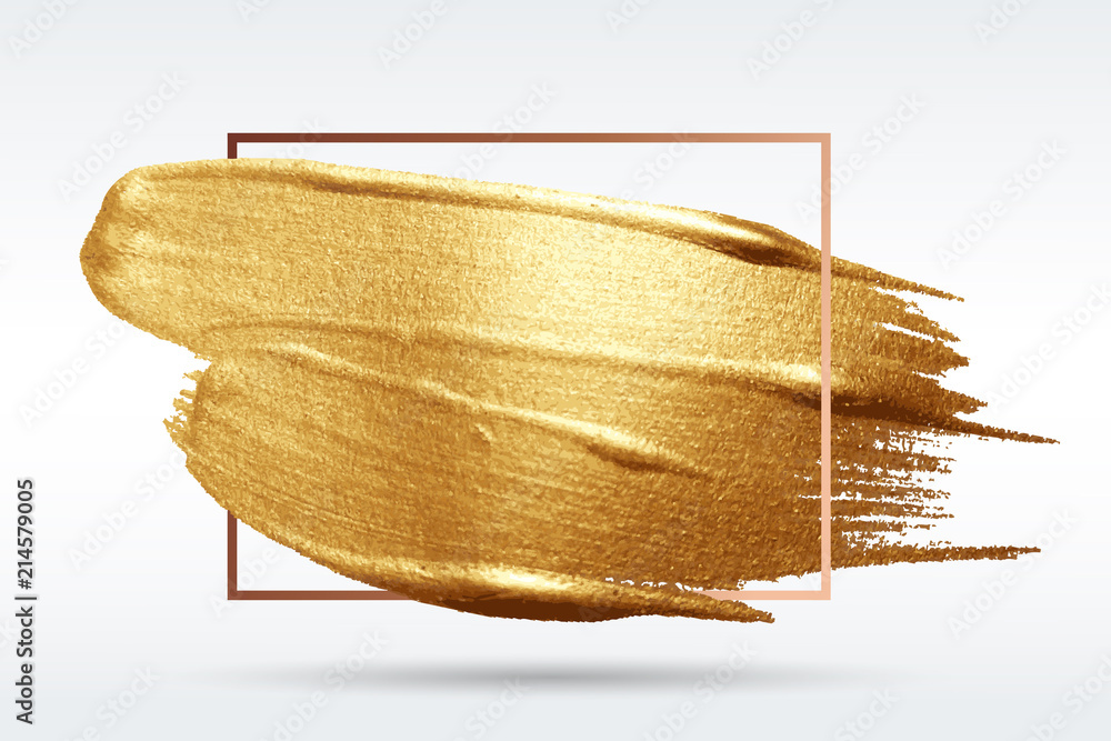 Fototapety, obrazy: Smear with an artistic brush. Gold grunge texture in a frame. A brilliant festive pattern. Light background. Vector abstract image. A high resolution.