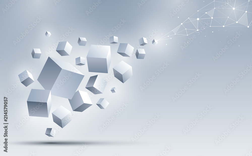 Fototapeta A group of 3d cubes floating to connect with an abstract geometric polygonal. Science and technology background. Big data and Internet connection. Abstract background. Vector illustration.