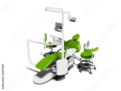 Fotografie, Obraz  Modern green dental chair with white inserts with monitor on tripod with two cha