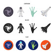 The alien hand, the space shuttle ship Space Shuttle, the astronaut in the spacesuit, the black hole with the stars. Space set collection icons in cartoon,black,flat style vector symbol stock