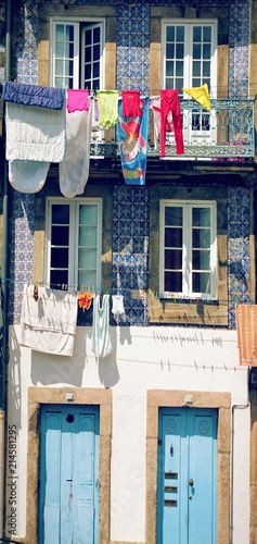 Drying clothes in Oporto street, Portugal