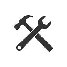 Hammer And Wrench Icon. Vector Illustration, Flat Design.