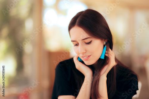 Elegant Smiling Girl Wearing Blue Tassel Fringe Earrings