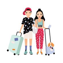 Young Male And Female Tourists Dressed In Trendy Clothing Standing Together And Holding Suitcases. Traveling Romantic Couple. Cartoon Characters Isolated On White Background. Vector Illustration.
