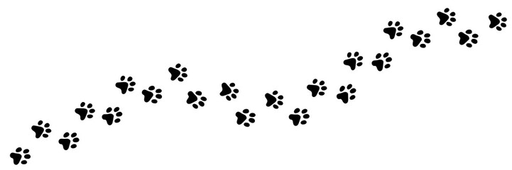 FototapetaPaw vector foot trail print of cat. Dog, puppy silhouette animal diagonal tracks for t-shirts, backgrounds, patterns, websites, showcases design, greeting cards, child prints and etc.
