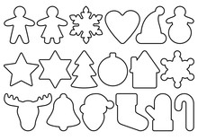 Gingerbread Outline Objects Set