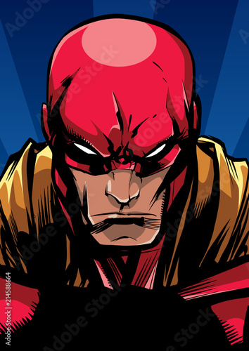 Fototapeta Comics style llustration of the portrait of a powerful superhero looking at camera with a tough facial expression
