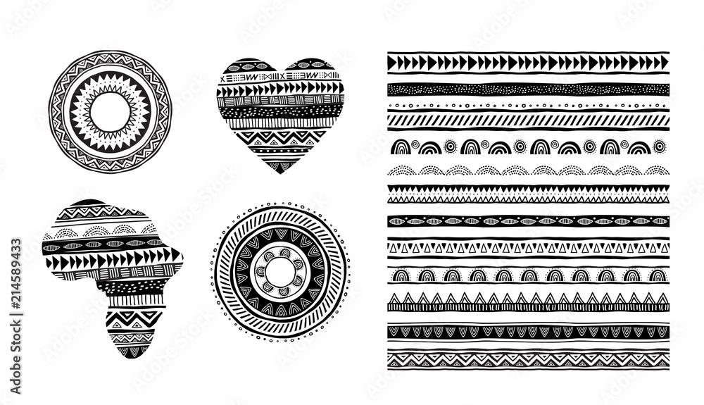 Fototapeta African, tribal, ethnic vector pattern brushes. Vector design elements, tribal geometric ornament, frames, borders