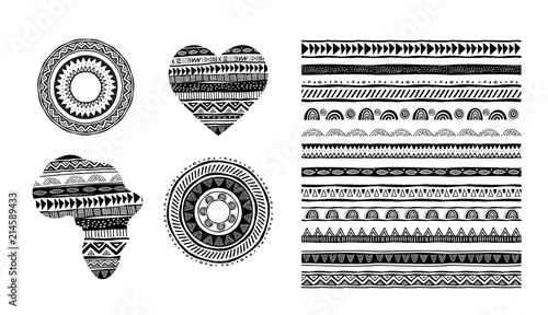 Fotografia African, tribal, ethnic vector pattern brushes