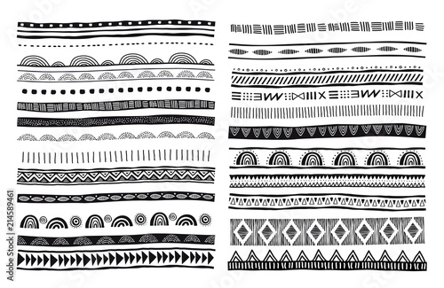 Fotografia African, tribal, ethnic vector pattern brushes