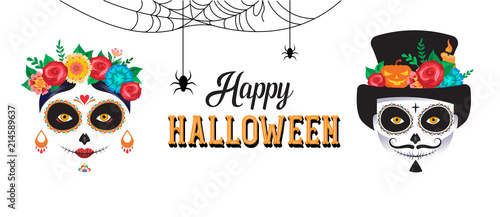 Cuadros en Lienzo Happy Halloween poster, banner and card with woman and man skull make up