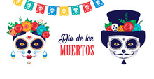 Dia De Los Muertos, Day Of The Dead, Mexican Holiday, Festival. Poster, Banner And Card With Make Up Of Sugar Skull, Woman And Man