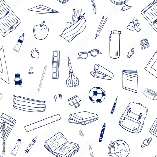 Seamless Pattern With School Supplies Or Stationery Items For Learning And Education Hand Drawn With Contour Lines On White Background Monochrome Vector Illustration For Fabric Print Wallpaper Buy This Stock Vector