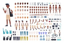 African American Boy Constructor Or DIY Kit. Collection Of Child Or Teen Body Parts, Facial Expressions, Clothing Isolated On White Background. Colorful Vector Illustration In Flat Cartoon Style.