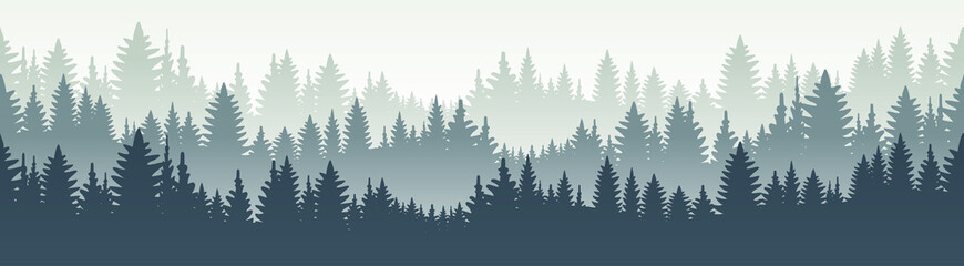 Seamless forest landscape. Vector illustration. Layered trees background. Outdoor and hiking concept.