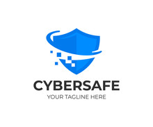 Cyber Security Shield Logo Design. Information And Network Protection Vector Design. Internet Safety Logotype