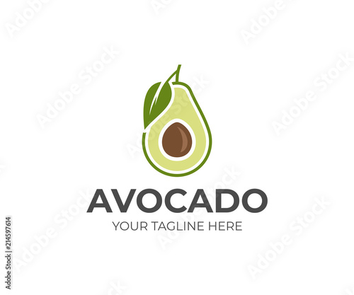 Fotografia, Obraz Avocado fruit logo template