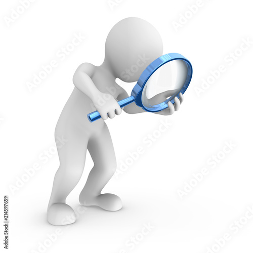 Search with big blue magnifying glass. Wallpaper Mural