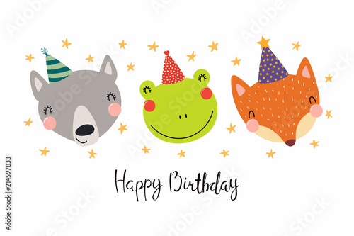 Printed kitchen splashbacks Illustrations Hand drawn birthday card with cute funny wolf, frog, fox in party hats, stars, quote Happy birthday. Isolated objects. Scandinavian style flat design. Vector illustration. Concept for kids print.