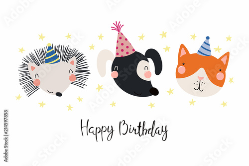 Hand Drawn Birthday Card With Cute Funny Dog Cat Hedgehog In Party Hats Stars Quote Happy Isolated Objects Scandinavian Style Flat Design