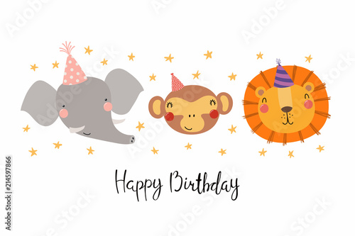 Printed kitchen splashbacks Illustrations Hand drawn birthday card with cute funny monkey, lion, elephant in party hats, stars, quote Happy birthday. Isolated objects. Scandinavian style flat design. Vector illustration. Concept kids print.