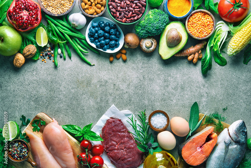 Fototapeta Balanced diet food background obraz