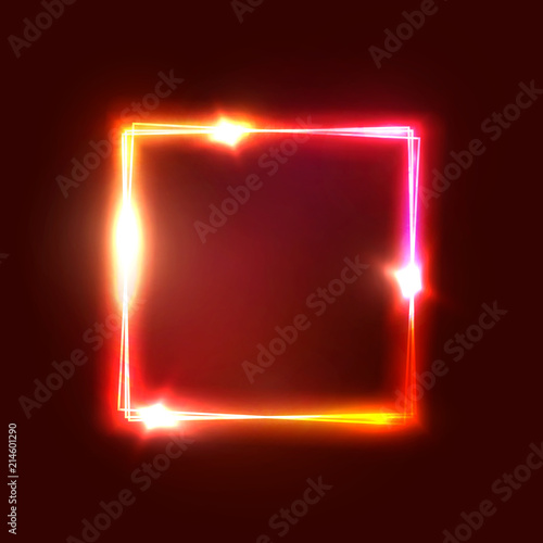 Geometric neon lights signage. Bright glowing square shape on dark red backdrop. Realistic electric power luxury sign. Rectangle electricity graphic border Neon abstract background vector illustration