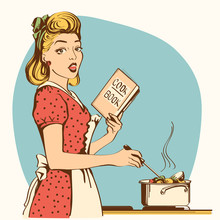 Retro Young Woman Cooking Soup In Her Kitchen Room.Vector Color Illustration