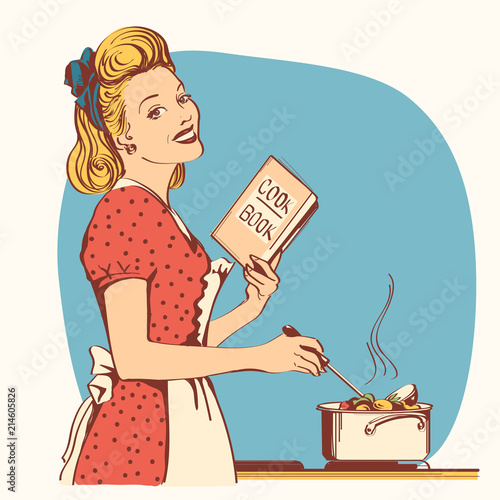 Retro young woman in red old fashioned dress cooking soup in her kitchen room Canvas Print
