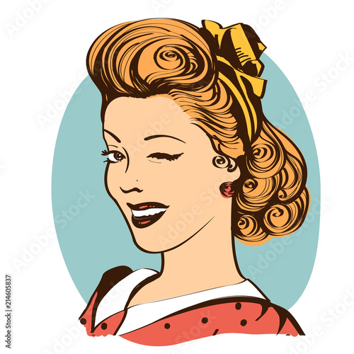 Leinwand Poster Winking young woman in retro clothes isolated on white