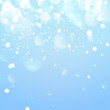 Winter sky with falling snow. Falling snow, snowflake on a blue sky. Holiday Winter background for Merry Christmas and Happy New Year. Falling snow background. Vector illustration