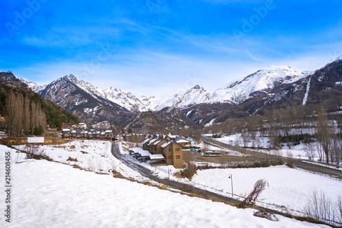 Panticosa snow skyline in Huesca Pyrenees Spain