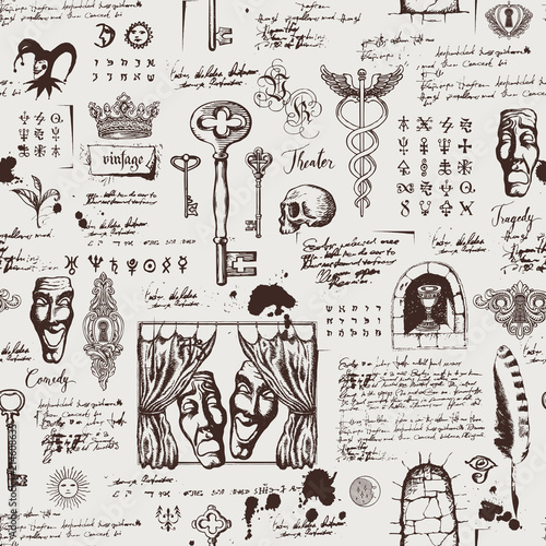 Photo Vector seamless pattern on the theme of theater and drama with drawings of theatrical masks, vintage keys and lettering