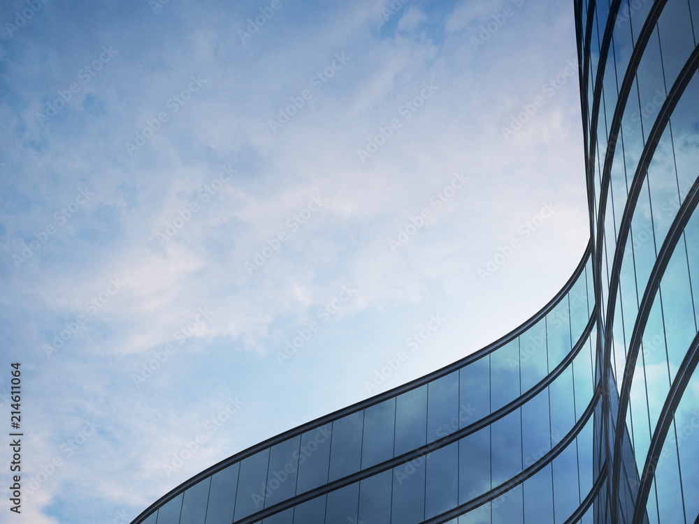 Fototapeta Perspective of high rise building and dark steel window system with clouds reflected on the glass.Business concept of future architecture,lookup to the angle of the building corner. 3d rendering