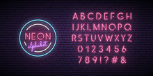 Neon Pink Font. English Alphabet And Numbers Sign. Bright Letters On Dark Wall. Vector Template.