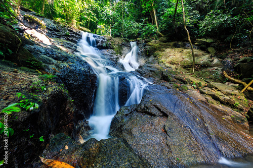Poster Watervallen Kathu waterfall in a tropical forest. Phuket, Thailand