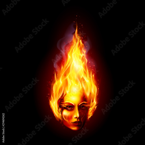 Acrylic Prints Flame Head in Fire