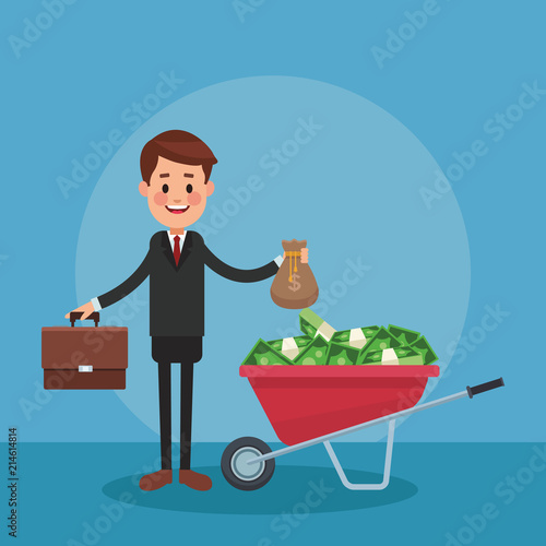 Foto Businessman with money inside wheelbarrow vector illustration graphic design