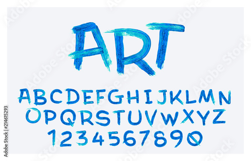 Vector stylized artistic font made ofoil brush strokes  Latin