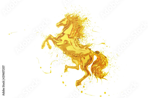 Fotografía Olive oil Splash or engine oil In the shape of a running horse Show speed and power, 3d illustration